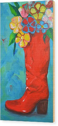 Red Boot With Flowers Wood Print by Patricia Awapara