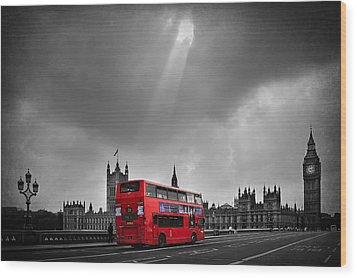 Red Bus Wood Print by Svetlana Sewell