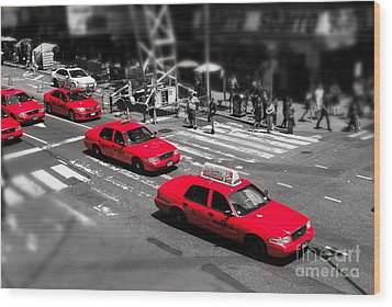 Red Cabs On Time Square Wood Print by Hannes Cmarits