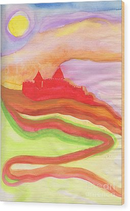 Red Castle Wood Print by First Star Art