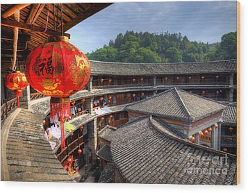 Red Chinese Lantern In A Hakka Tulou  Fujian Wood Print by Fototrav Print