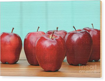 Red Delicious Apples On Old School Desk Wood Print by Sandra Cunningham
