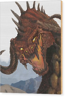 Red Dragon Wood Print by Matt Kedzierski