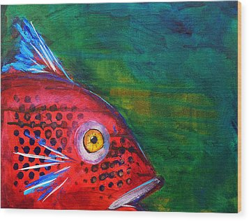 Red Fish Wood Print by Nancy Merkle