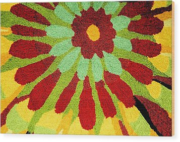 Red Flower Rug Wood Print by Janette Boyd