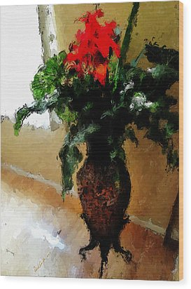 Red Flower Stance Wood Print by Robert Smith