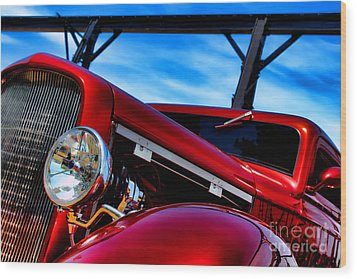 Red Hot Rod Wood Print by Olivier Le Queinec