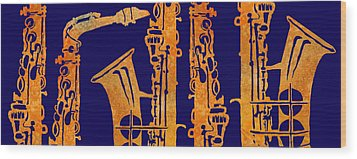 Red Hot Sax Keys Wood Print by Jenny Armitage