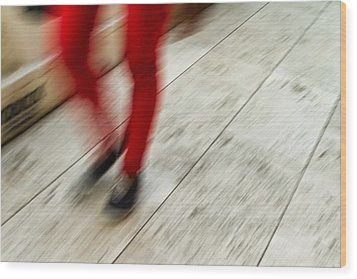 Red Hot Walking Wood Print by Karol Livote