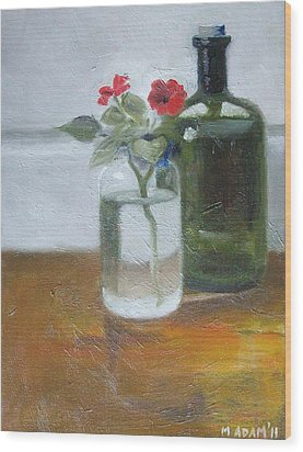 Red Impatiens Wood Print by Mary Adam