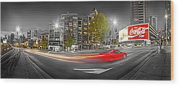 Red Lights Sydney Nights Wood Print by Az Jackson