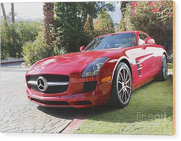Red Mercedes Benz Wood Print by Nina Prommer
