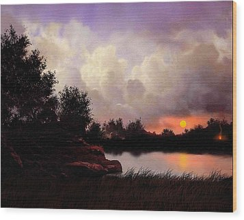 Red Sky Camp Wood Print by Robert Foster