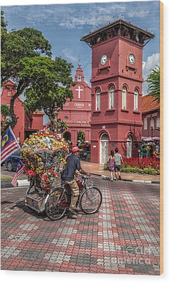 Red Square Malacca Wood Print by Adrian Evans