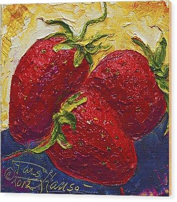 Red Strawberries II Wood Print by Paris Wyatt Llanso