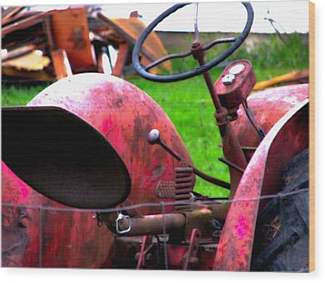 Red Tractor Rural Photography Wood Print by Laura  Carter