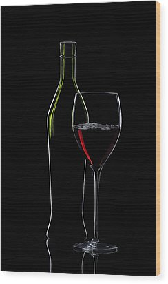 Red Wine Bottle And Wineglass Silhouette Wood Print by Alex Sukonkin
