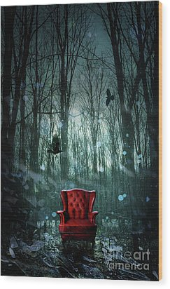 Red Wing Chair In Forest At Twilight Wood Print by Sandra Cunningham