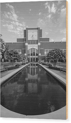 Reflecting Pond Outside Of Oklahoma Memorial Stadium Wood Print by Nathan Hillis