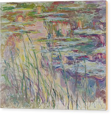 Reflections On The Water Wood Print by Claude Monet