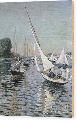Regatta At Argenteuil Wood Print by Gustave Caillebotte