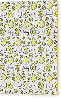 Repeat Prtin - Juicy Lemon Wood Print by Susan Claire