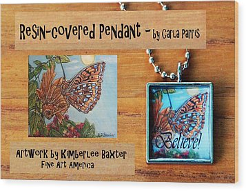 Resin Pendant With Butterfly And Sky Wood Print by Carla Parris