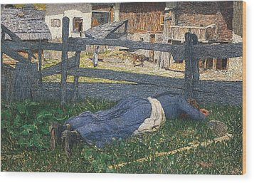 Resting In The Shade Wood Print by Giovanni Segantini
