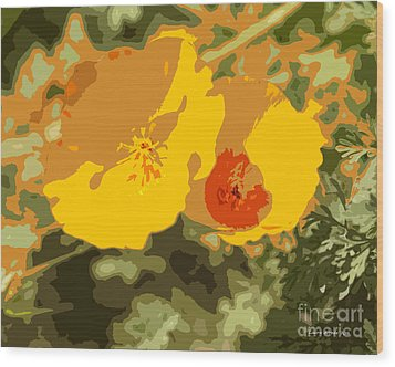 Retro Abstract Poppies 3 Wood Print by Artist and Photographer Laura Wrede