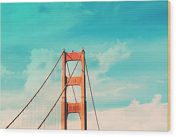 Retro Golden Gate - San Francisco Wood Print by Melanie Alexandra Price