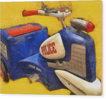 Retro Police Tricycle Wood Print by Michelle Calkins
