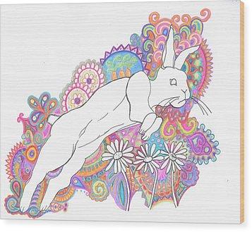 Retro Rabbit 2 Wood Print by Cherie Sexsmith