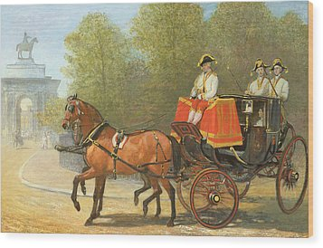 Returning From Her Majestys Drawing Room Wood Print by Alfred Corbould