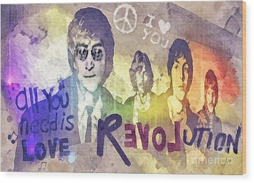 Revolution Wood Print by Mo T