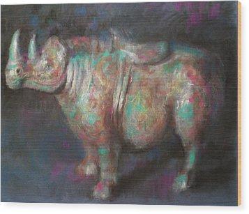 Rhinocerus Wood Print by Paez  Antonio