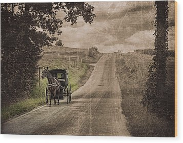 Riding Down A Country Road Wood Print by Tom Mc Nemar