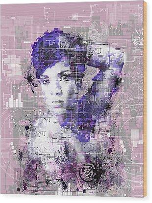 Rihanna 3 Wood Print by Bekim Art