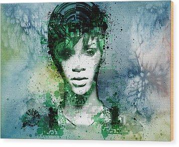 Rihanna 4 Wood Print by Bekim Art