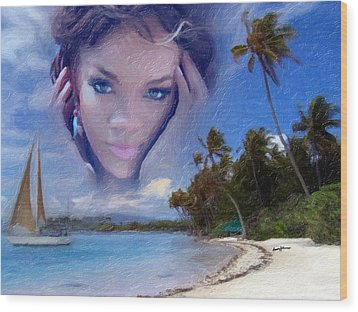 Rihanna Wood Print by Anthony Caruso