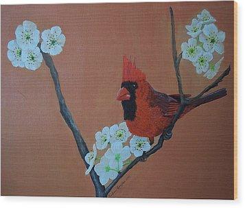 Rita's Redbird For Kevin Wood Print by Barbara Samples
