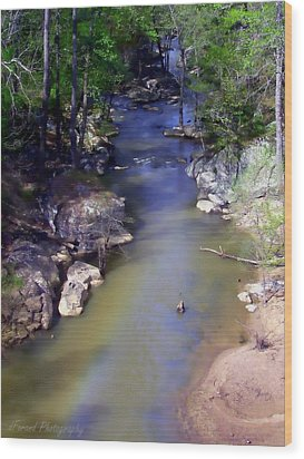 River At Noccalula Falls Wood Print by Debra Forand