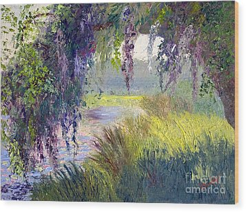 River Through The Moss Wood Print by Patricia Huff