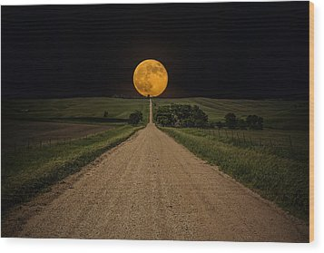 Road To Nowhere - Supermoon Wood Print by Aaron J Groen