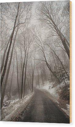 Road To Winter Wood Print by Karol Livote