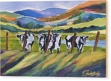 Roadside Cows Near San Luis Wood Print by Therese Fowler-Bailey