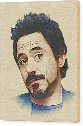 Robert Downey Jr. Wood Print by Marina Likholat
