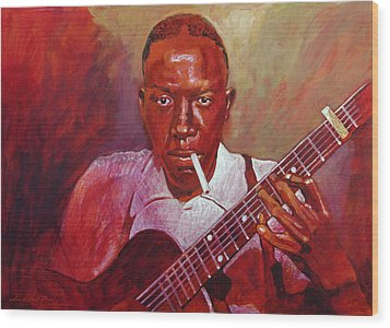 Robert Johnson Photo Booth Portrait Wood Print by David Lloyd Glover
