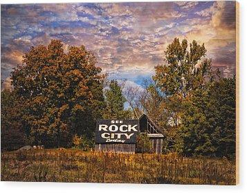 Rock City Barn Wood Print by Debra and Dave Vanderlaan