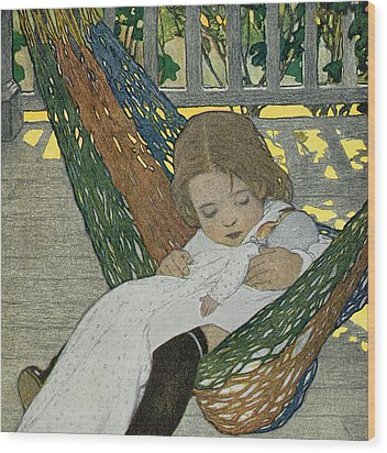 Rocking Baby Doll To Sleep Wood Print by Jessie Willcox Smith