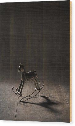 Rocking Horse Wood Print by Amanda Elwell